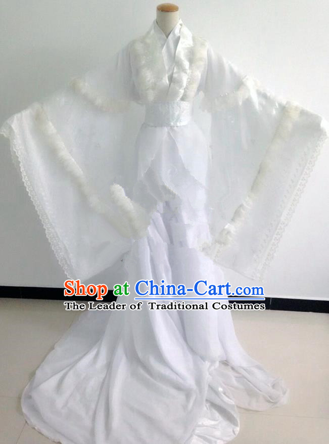 Traditional Chinese Cosplay Young Lady Costume, Chinese Ancient Hanfu Han Dynasty Princess White Dress Clothing for Women