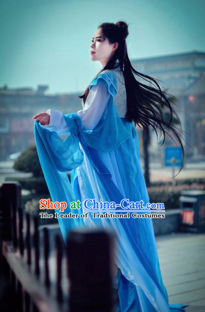Traditional Chinese Cosplay Imperial Princess Costume, Chinese Ancient Hanfu Han Dynasty Young Lady Blue Dress Clothing for Women