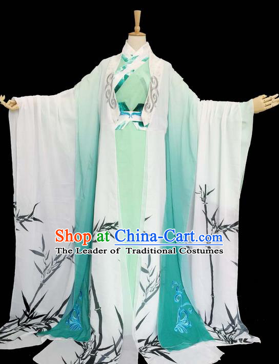 Traditional Chinese Han Dynasty Young Men Embroidery Costume, Elegant Hanfu Clothing Chinese Ancient Prince Printing Bamboo Dress for Men