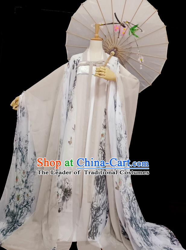 Traditional Chinese Tang Dynasty Imperial Princess Costume, Elegant Hanfu Clothing Blouse and Skirts, Chinese Ancient Young Lady Printing Magnolia Dress for Women