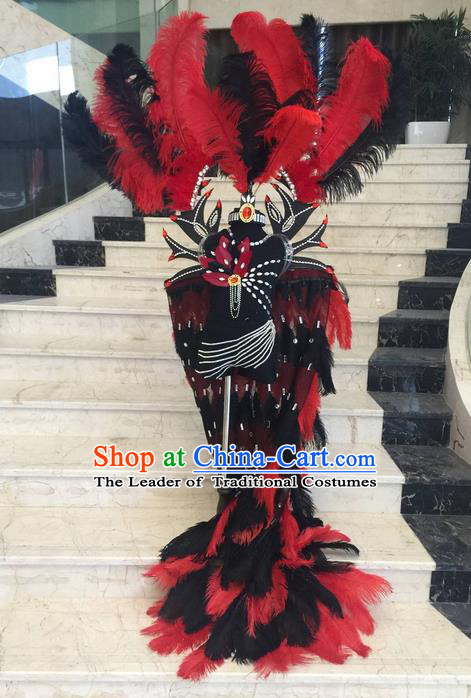 Top Grade Compere Professional Performance Catwalks Swimsuit Costume, Children Red Feather Cloak Formal Dress Modern Dance Fancywork Trailing Clothing for Boys Kids
