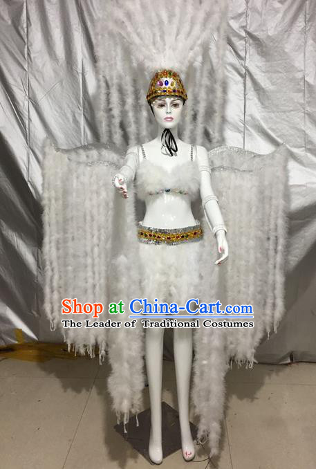 Top Grade Compere Professional Performance Catwalks Swimsuit White Costume, Children Brazilian Samba Dance Feather Formal Dress Modern Dance Fancywork Clothing for Girls Kids