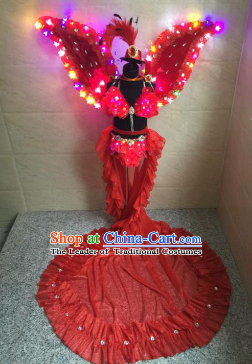 Top Grade Compere Professional Performance Catwalks Costume, Traditional Brazilian Rio Carnival Modern Dance Fancywork Red Feather Wings Swimsuit Led Clothing for Kids