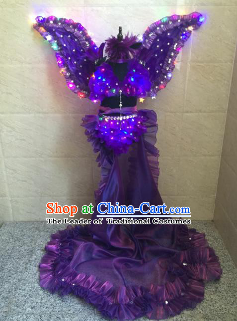 Top Grade Compere Professional Performance Catwalks Costume, Traditional Brazilian Rio Carnival Modern Dance Fancywork Purple Feather Wings Swimsuit Led Clothing for Kids