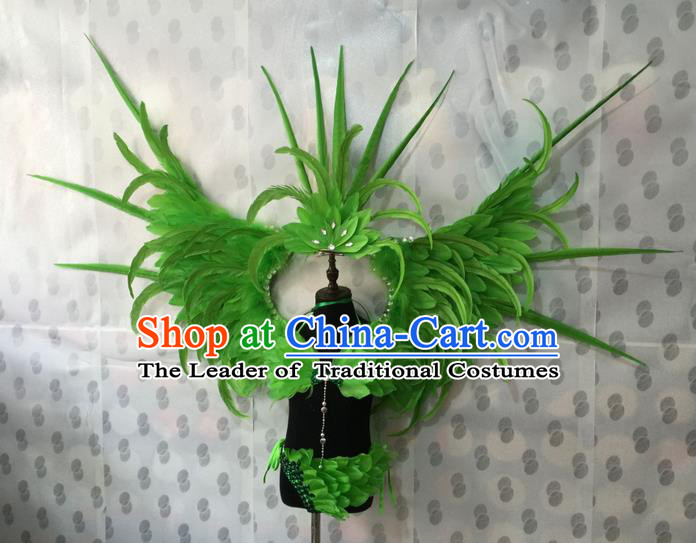 Top Grade Compere Professional Performance Catwalks Costume, Traditional Brazilian Rio Carnival Dance Fancywork Green Feather Wings Swimsuit Clothing for Kids