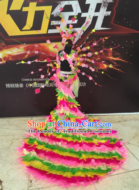 Top Grade Compere Professional Performance Catwalks Costume, Traditional Brazilian Rio Carnival Dance Fancywork Green Feather Wings Swimsuit Trailing Clothing for Kids