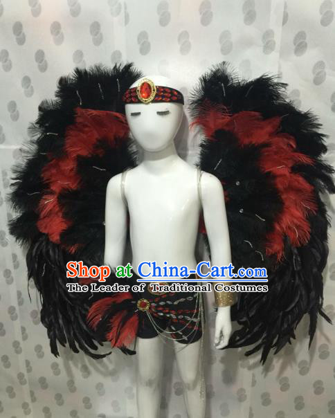 Top Grade Compere Professional Performance Catwalks Halloween Feather Costumes, Traditional Brazilian Rio Carnival Dance Fancywork Wings Swimsuit Clothing for Kids