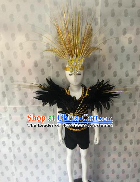 Top Grade Compere Professional Performance Catwalks Costumes, Traditional Brazilian Rio Carnival Dance Feather Dress Fancywork Swimsuit Bikini Clothing for Kids