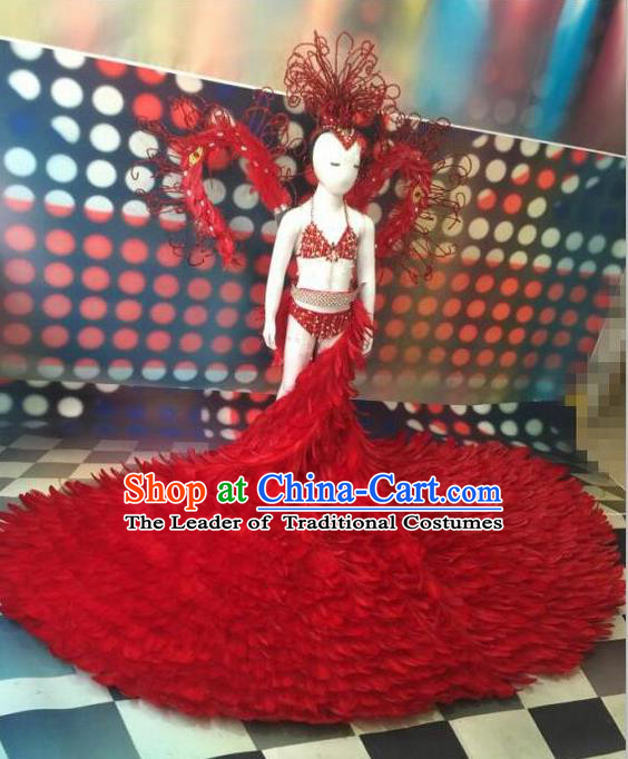 Top Grade Compere Professional Performance Catwalks Costumes, Traditional Brazilian Rio Carnival Samba Opening Dance Red Feather Wings Suit Fancywork Bikini Swimwear Clothing for Women