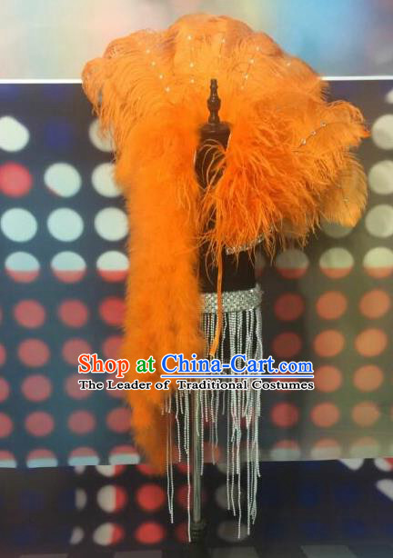 Top Grade Compere Professional Performance Catwalks Orange Feather Cappa, Traditional Brazilian Rio Carnival Samba Opening Dance Swimsuit Tippet Clothing for Kids