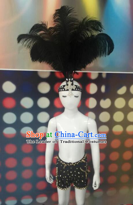 Top Grade Compere Professional Performance Catwalks Costume and Headwear, Traditional Brazilian Rio Carnival Samba Opening Dance Feather Swimsuit Clothing for Kids