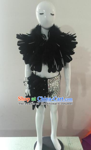 Top Grade Compere Professional Performance Catwalks Costumes, Traditional Brazilian Rio Carnival Samba Opening Dance Feather Swimsuit Clothing for Kids