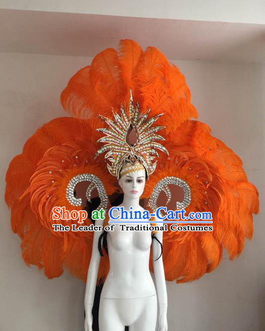 Top Grade Compere Professional Performance Catwalks Orange Feather Wings and Headpiece, Traditional Brazilian Rio Carnival Samba Opening Dance Suits Modern Fancywork Swimsuit Clothing for Women