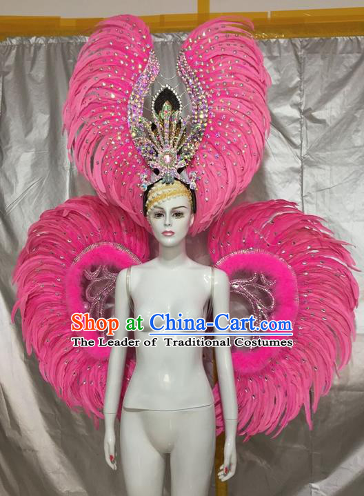 Top Grade Compere Professional Performance Catwalks Costumes and Headpiece, Traditional Brazilian Rio Carnival Samba Opening Dance Pink Feather Wings Suit Fancywork Clothing for Women
