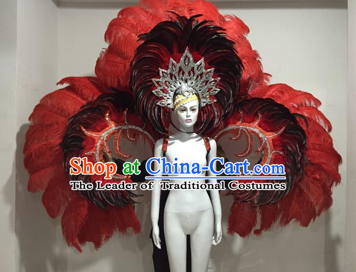 Top Grade Compere Professional Performance Catwalks Red Feather Large Size Wings Costume and Big Hair Accessories, Traditional Brazilian Rio Carnival Samba Opening Dance Suits Modern Fancywork Clothing for Women