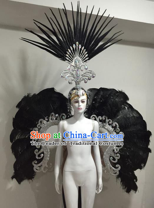 Top Grade Compere Professional Performance Catwalks Black Feather Large Size Wings Costume and Big Hair Accessories, Traditional Brazilian Rio Carnival Samba Opening Dance Suits Modern Fancywork Clothing for Women