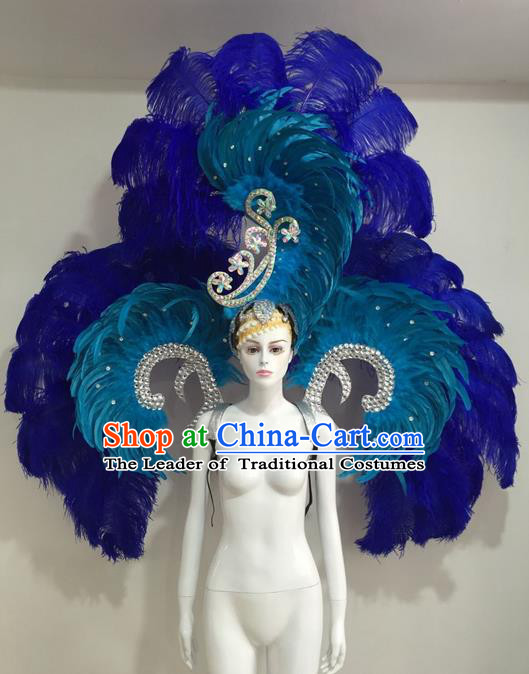 Top Grade Compere Professional Performance Catwalks Blue Feather Wings Costume and Hair Accessories, Traditional Brazilian Rio Carnival Samba Opening Dance Suits Modern Fancywork Clothing for Women