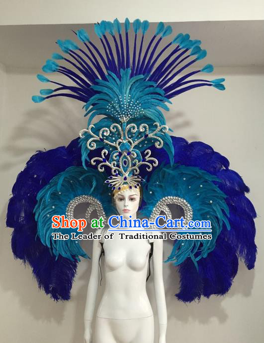 Top Grade Compere Professional Performance Catwalks Blue Feather Wings Costume and Headdress, Traditional Brazilian Rio Carnival Samba Opening Dance Suits Modern Fancywork Clothing for Women
