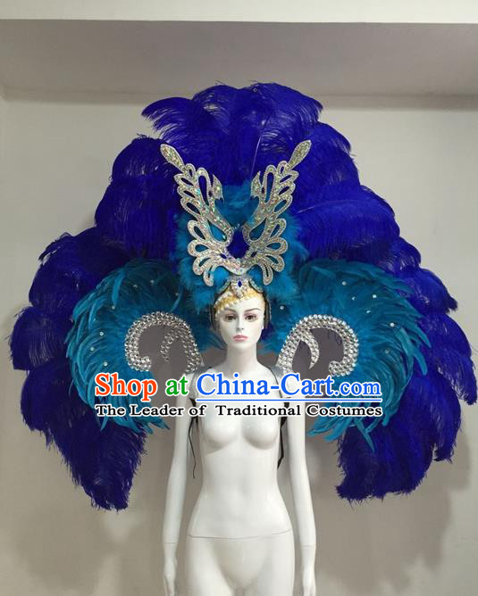 Top Grade Compere Professional Performance Catwalks Blue Feather Wings Costume and Headpiece, Traditional Brazilian Rio Carnival Samba Opening Dance Suits Modern Fancywork Clothing for Women