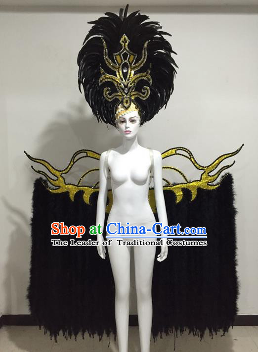 Top Grade Compere Professional Performance Catwalks Miami Feathers Deluxe Wings and Headpiece, Traditional Brazilian Rio Carnival Samba Opening Dance Custom-made Customized Suits Clothing for Women