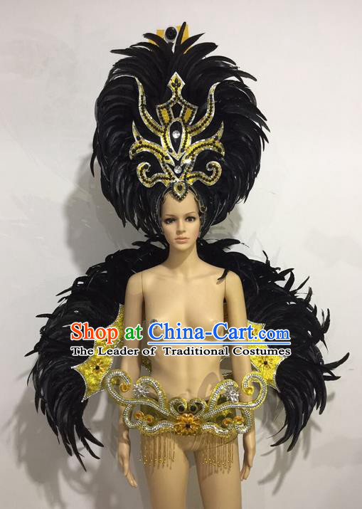 Top Grade Professional Performance Catwalks Black Feather Wings and Headwear, Brazilian Rio Carnival Samba Opening Dance Custom-made Customized Clothing for Women
