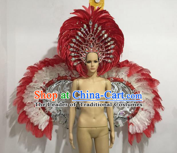 Top Grade Professional Performance Catwalks Red Feather Wings and Headwear, Brazilian Rio Carnival Samba Opening Dance Custom-made Customized Clothing for Women