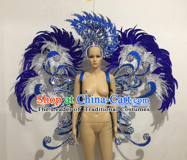 Top Grade Professional Performance Catwalks Blue Feather Butterfly Wings and Headwear, Brazilian Rio Carnival Samba Opening Dance Custom-made Customized Props Clothing for Women