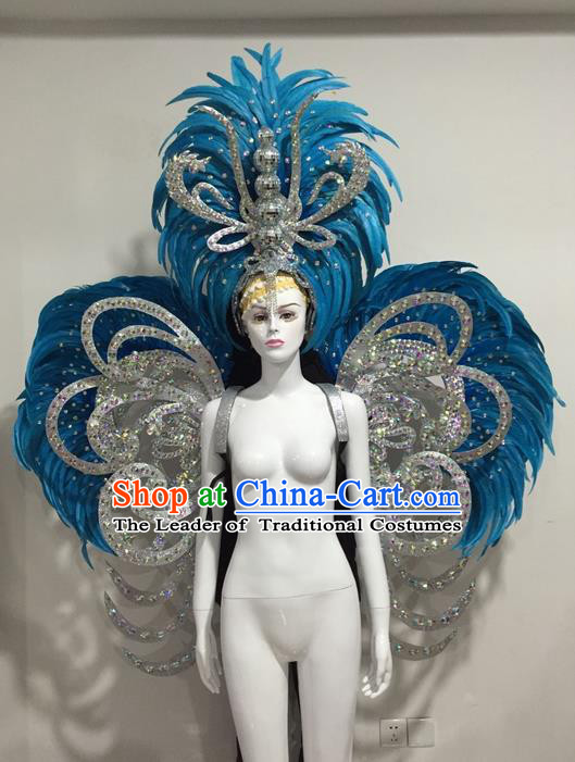 Top Grade Compere Professional Performance Catwalks Blue Feather Wings and Giant Headpiece Big Hair Accessories Decorations, Traditional Brazilian Rio Carnival Samba Opening Dance Suits Modern Fancywork Clothing for Women