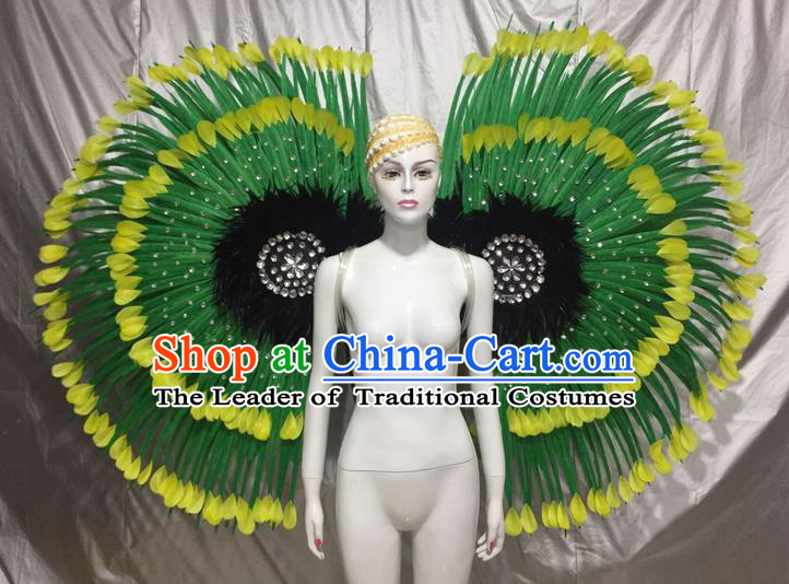 Top Grade Professional Stage Show Catwalks Green Feather Wings, Brazilian Rio Carnival Samba Opening Dance Custom-made Customized Props Clothing for Women