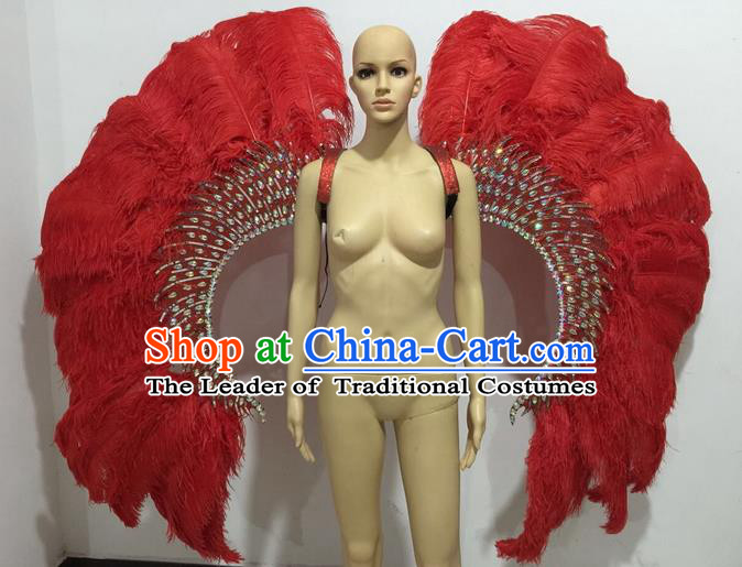 Top Grade Professional Stage Show Catwalks Halloween Red Feather Wings, Brazilian Rio Carnival Samba Opening Dance Custom-made Customized Props for Women