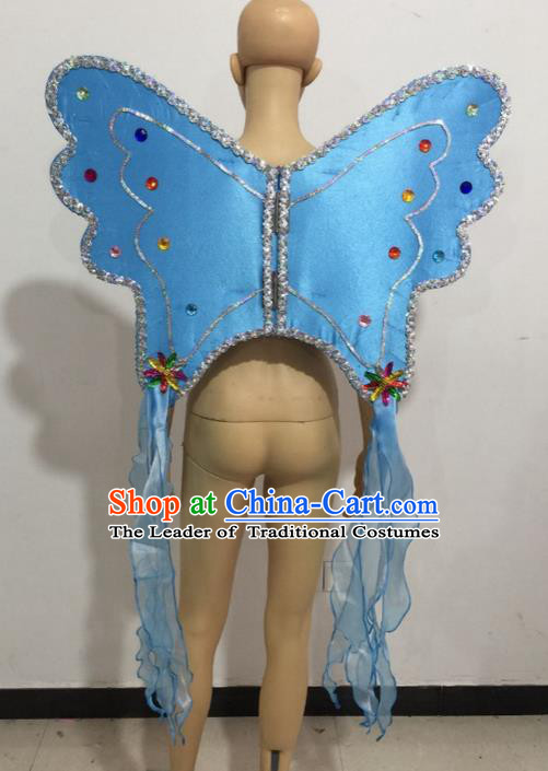 Top Grade Professional Stage Show Catwalks Halloween Blue Butterfly Wings, Brazilian Rio Carnival Samba Opening Dance Custom-made Customized Backboard Accessories Props for Women