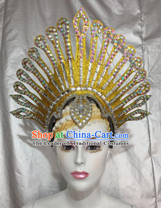 Top Grade Professional Stage Show Catwalks Brazil Halloween Crystal Headpiece, Brazilian Rio Carnival Samba Opening Dance Modern Fancywork Headwear for Women