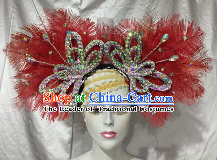 Top Grade Professional Stage Show Catwalks Brazil Crystal Headpiece, Brazilian Rio Carnival Samba Opening Dance Modern Fancywork Red Feather Headwear for Women