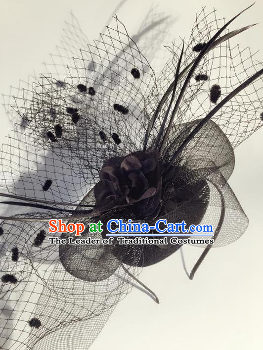 Top Grade Chinese Theatrical Luxury Headdress Ornamental Black Veil Hair Clasp, Halloween Fancy Ball Ceremonial Occasions Handmade Headwear for Men
