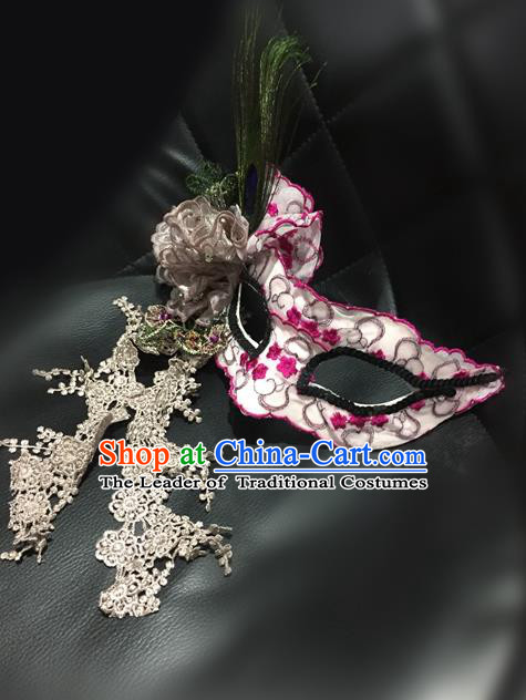 Top Grade Chinese Theatrical Luxury Headdress Ornamental Pink Embroidery Mask, Halloween Fancy Ball Ceremonial Occasions Handmade Face Mask for Women