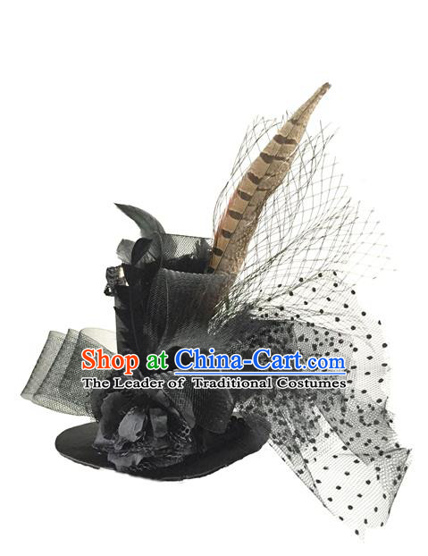 Top Grade Chinese Theatrical Luxury Headdress Ornamental Black Feather Top Hat, Halloween Fancy Ball Ceremonial Occasions Handmade Witch Hat for Women