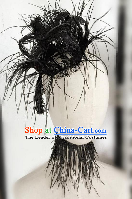 Top Grade Chinese Theatrical Headdress Traditional Ornamental Baroque Black Feather Headwear, Brazilian Carnival Halloween Occasions Handmade Vintage Queen Royal Crown for Women