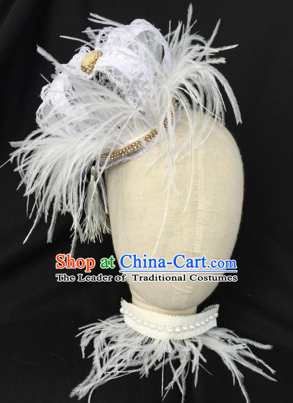 Top Grade Chinese Theatrical Headdress Traditional Ornamental Baroque White Feather Headwear, Brazilian Carnival Halloween Occasions Handmade Vintage Queen Royal Crown for Women