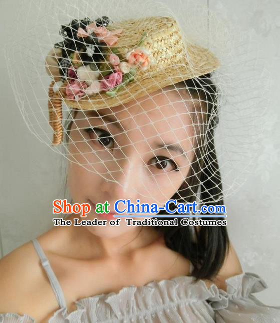 Top Grade Chinese Theatrical Headdress Traditional Ornamental Flowers Top Hat, Brazilian Carnival Halloween Occasions Handmade Bride Veil Hat for Women