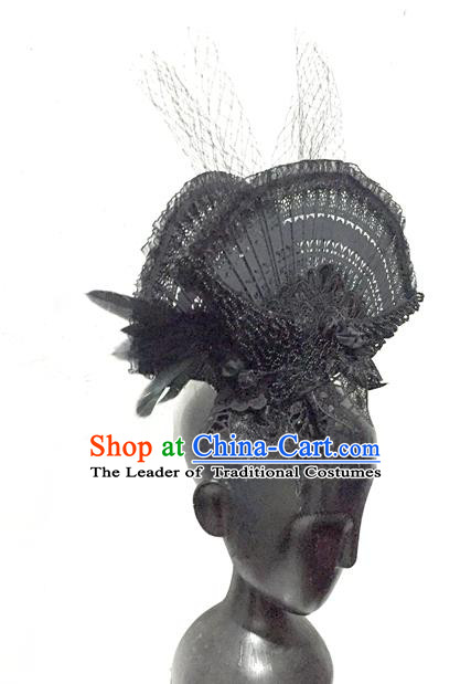 Top Grade Chinese Theatrical Headdress China Ornamental Manchu Princess Black Fan Hair Accessories, Asian Traditional Halloween Occasions Handmade Headwear for Women