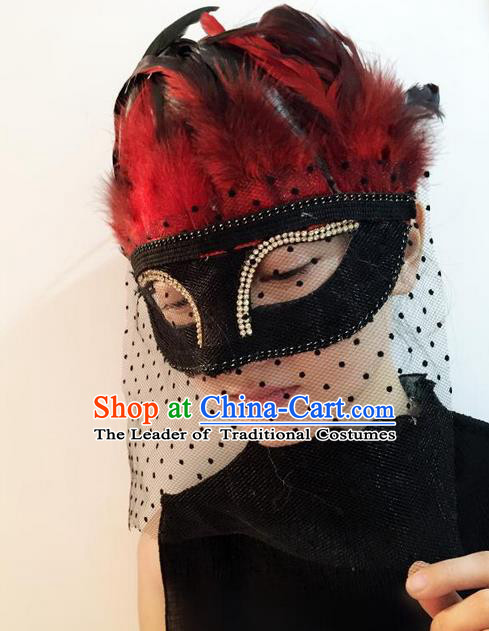 Top Grade Chinese Theatrical Headdress Ornamental Red Feather Mask, Asian Traditional Halloween Occasions Handmade Veil Mask for Women