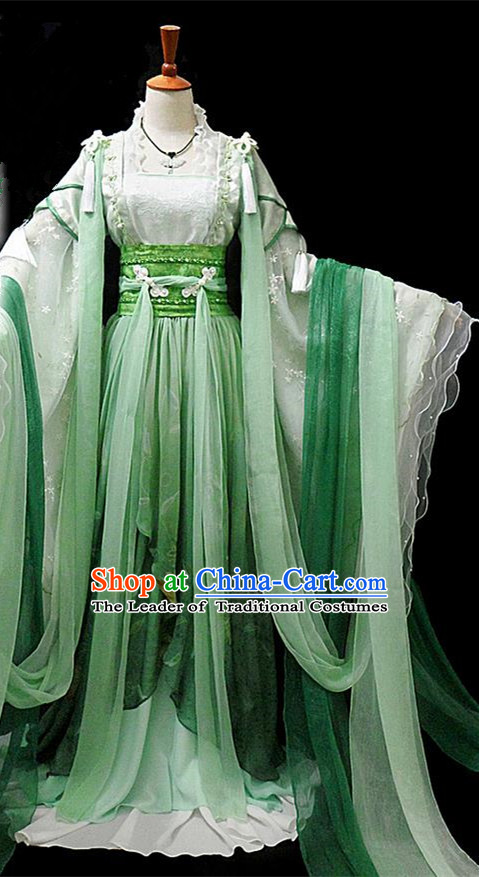 Traditional Ancient Chinese Young Lady Princess Green Costume, Chinese Han Dynasty Noble Lady Fairy Dress Hanfu Clothing for Women