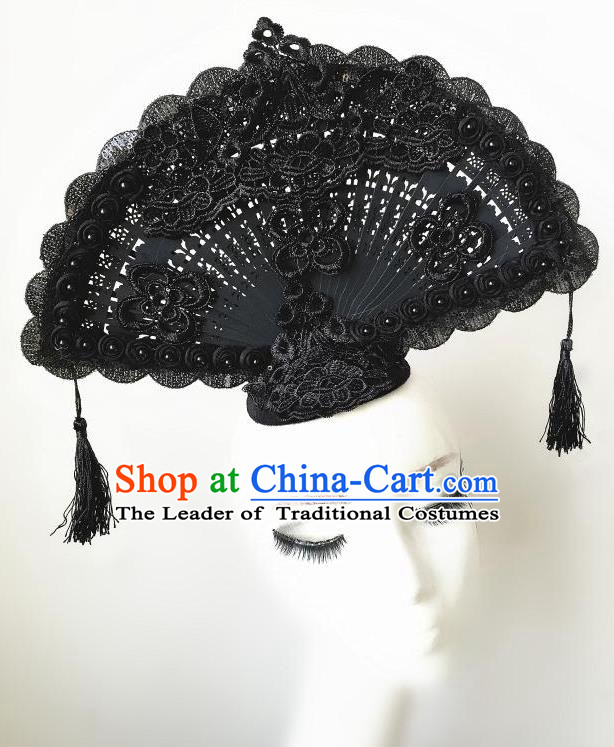 Top Grade Chinese Theatrical Headdress Ornamental Asian Headpiece Black Lace Fanshaped Floral Hair Accessories, Halloween Fancy Ball Ceremonial Occasions Handmade Headwear for Women