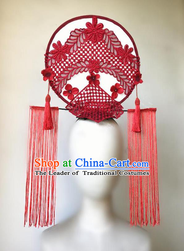 Top Grade Chinese Theatrical Headdress Ornamental Asian Red Tassel Lace Fanshaped Floral Hair Accessories, Halloween Fancy Ball Ceremonial Occasions Handmade Headwear for Women