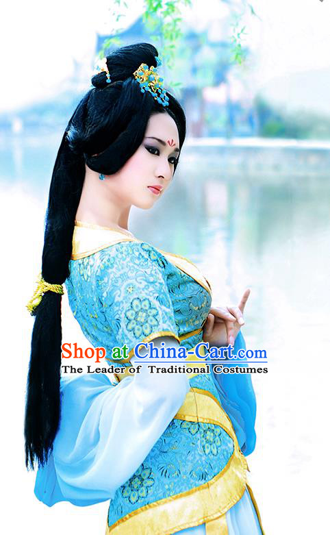 Traditional Ancient Chinese Young Lady Princess Blue Dance Costume, Chinese Han Dynasty Noble Lady Fairy Water Sleeve Dress Hanfu Clothing for Women