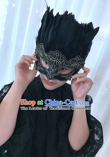 Top Grade Chinese Theatrical Traditional Ornamental Black Feathert Mask, Brazilian Carnival Halloween Occasions Handmade Vintage Mask for Men