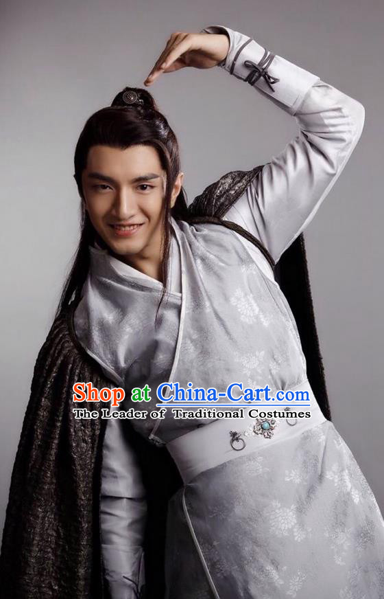 Traditional Ancient Chinese Young Man Costume and Headpiece Complete Set, Princess Agents Chinese Southern and Northern Prince Robe Clothing