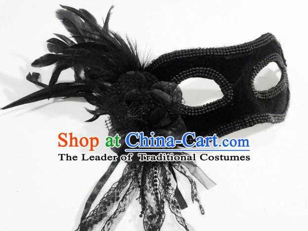 Top Grade Chinese Theatrical Headdress Ornamental Black Mask, Asian Traditional Halloween Occasions Handmade Debutante Feather Mask for Women