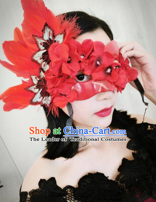 Top Grade Chinese Theatrical Headdress Ornamental Masquerade Red Feather Mask, Brazilian Carnival Halloween Occasions Handmade Miami Flowers Mask for Women