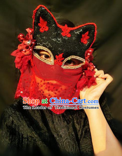 Top Grade Chinese Theatrical Headdress Ornamental Masquerade Cat Mask, Brazilian Carnival Halloween Occasions Handmade Miami Red Lace Veil Mask for Women